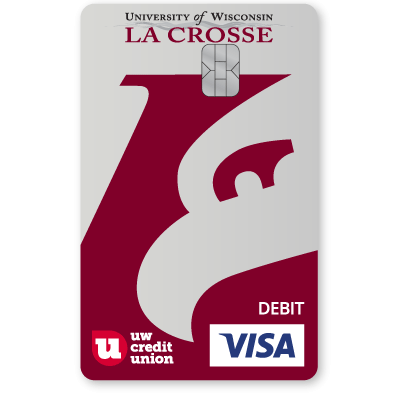 UW Credit Union University of Wisconsin La Crosse Eagles Debt Card.