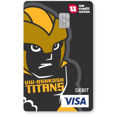 UW Credit Union University of Wisconsin Oshkosh Titans Debt Card.