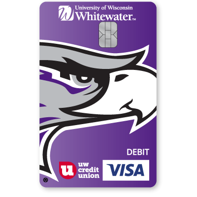 UW Credit Union University of Wisconsin Whitewater Warhawks Debt Card.